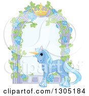 Clipart Of A Magical Sparkly Blue Unicorn By A Garden Arbor With A Crown Royalty Free Vector Illustration