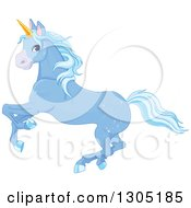 Clipart Of A Magical Sparkly Blue Unicorn Running To The Left Royalty Free Vector Illustration