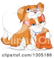 Cute Beagle Puppy Resting His Head On A Ginger Cats Head