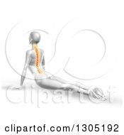 Clipart Of A 3d Anatomical Woman Stretching On The Floor In A Yoga Pose With Visible C Royalty Free Illustration
