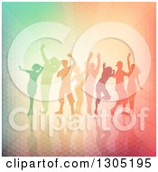 Clipart Of A Group Of Silhouetted Dancers Over A Colorful Texture And Rays Royalty Free Vector Illustration
