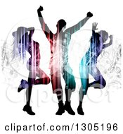 Clipart Of Silhouetted Light And Music Patterned Dancers On White Royalty Free Vector Illustration by KJ Pargeter