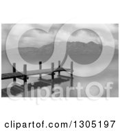 Clipart Of A Grayscale Dock Or Jetty On A Lake Royalty Free Illustration