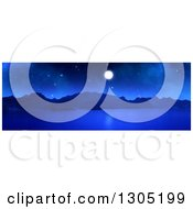 Clipart Of A 3d Panoramic Landscape Of A Full Moon Over A Lake Or Bay At Night Royalty Free Illustration by KJ Pargeter
