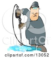 Man Cleaning A Floor With A Pressure Washer Clipart Illustration