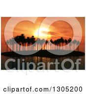 Clipart Of A 3d Silhouetted Palm Tree Island Against An Orange Sunset Royalty Free Illustration