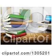 Clipart Of A 3d Stack Of Colorful Books On A Wood Table Or Counter In A Class Room Royalty Free Illustration