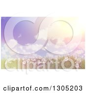 Clipart Of A 3d Hillside With Grass And Daisy Flowers Against A Vintage Flared Sky With Puffy Clouds Royalty Free Illustration