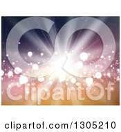 Clipart Of A Bright Burst Of Light Over Gradient Orange And Purple Royalty Free Vector Illustration by KJ Pargeter