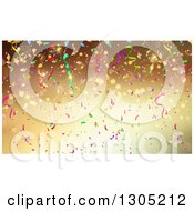 Clipart Of A Gradient Gold Party Background With Flares Streamers And Confetti Royalty Free Vector Illustration