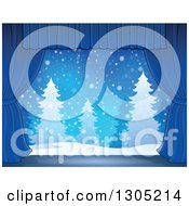 Clipart Of A Stage Setting Of A Snowy Winter Landscape And Evergreen Trees Framed With Blue Drapes Royalty Free Vector Illustration