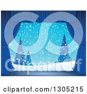 Clipart Of A Stage Setting Of A Snowy Winter Landscape And Evergreens Framed With Blue Drapes Royalty Free Vector Illustration