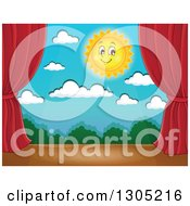 Clipart Of A Stage Setting Of A Happy Sun Clouds And Shrubs Framed With Red Drapes Royalty Free Vector Illustration