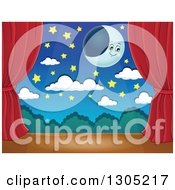 Clipart Of A Stage Setting Of A Moon Stars And Clouds Framed With Red Drapes Royalty Free Vector Illustration