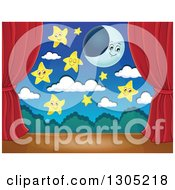 Clipart Of A Stage Setting Of A Moon Happy Stars And Clouds Framed With Red Drapes Royalty Free Vector Illustration