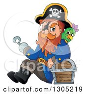 Clipart Of A Cartoon Pirate Captain Sitting Leaning Against A Treasure Chest With A Parrot And Presenting With A Hook Hand Royalty Free Vector Illustration by visekart