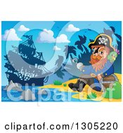 Clipart Of A Cartoon Pirate Captain With A Treasure Chest And Parrot Sitting On A Beach With His Ship In The Distance Royalty Free Vector Illustration