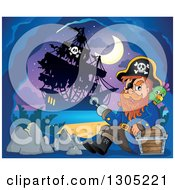 Clipart Of A Cartoon Pirate Captain With A Treasure Chest And Parrot In A Cave His Ship Outside Under A Crescent Moon Royalty Free Vector Illustration