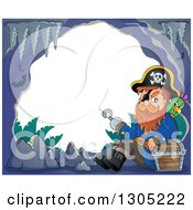 Clipart Of A Cartoon Pirate Captain With A Treasure Chest And Parrot In A Cave Frame Royalty Free Vector Illustration