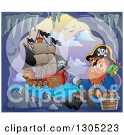 Clipart Of A Cartoon Pirate Captain With A Treasure Chest And Parrot In A Cave His Ship Outside At Sunset Royalty Free Vector Illustration