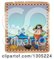 Clipart Of A Cartoon Pirate Captain With A Treasure Chest And Parrot On A Ship Deck On A Parchement Page Royalty Free Vector Illustration