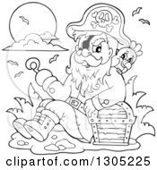 Lineart Clipart Of A Cartoon Black And White Pirate Captain Sitting Leaning Against A Treasure Chest With A Parrot And Presenting With A Hook Hand Royalty Free Outline Vector Illustration