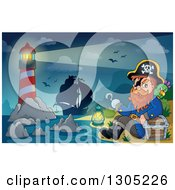 Clipart Of A Cartoon Pirate Captain With A Treasure Chest And Parrot Sitting On A Beach With A Lighthouse And Ship In The Background Royalty Free Vector Illustration