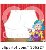 Clipart Of A Cartoon Friendly Clown Sitting And Waving On Stage With Red Curtains Royalty Free Vector Illustration