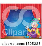 Clipart Of A Cartoon Friendly Clown Sitting And Waving On Stage With Red Curtains And Blue Flares Royalty Free Vector Illustration