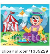 Clipart Of A Cartoon Friendly Clown Sitting And Waving By A Big Top Circus Tent On A Spring Day Royalty Free Vector Illustration by visekart