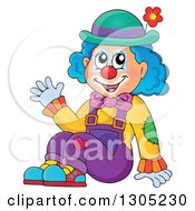 Clipart Of A Cartoon Friendly Clown Sitting And Waving Royalty Free Vector Illustration