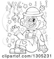 Lineart Clipart Of A Cartoon Black And White Friendly Clown Sitting And Waving With Confetti Royalty Free Outline Vector Illustration by visekart
