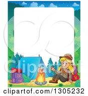 Clipart Of A Border Of A Cartoon Blond White Girl Scout Sitting And Waving At A Camp Site Royalty Free Vector Illustration