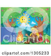 Clipart Of A Cartoon Blond White Girl Scout Sitting And Waving At A Camp Site On A Sunny Day Royalty Free Vector Illustration by visekart