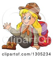 Clipart Of A Cartoon Blond White Girl Scout Sitting And Waving With Camping Gear Royalty Free Vector Illustration