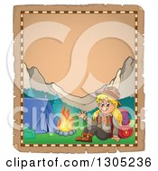 Clipart Of A Worn Parchment Page With A Blond White Girl Scout Camping Royalty Free Vector Illustration