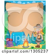 Clipart Of A Parchment Scroll Page With A Blond White Girl Scout Camping And Holding Up A Finger By A Fire Royalty Free Vector Illustration
