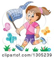 Clipart Of A Cartoon Happy Brunette White Girl Chasing Butterflies With A Net Royalty Free Vector Illustration by visekart