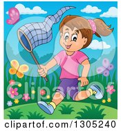 Clipart Of A Cartoon Happy Brunette White Girl Chasing Butterflies With A Net On A Spring Day Royalty Free Vector Illustration by visekart