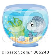 Clipart Of A Happy Pet Fish In A Bowl Royalty Free Vector Illustration