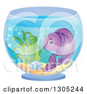Clipart Of A Happy Purple Pet Fish In A Bowl Royalty Free Vector Illustration