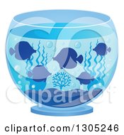Clipart Of Silhouetted Pet Tang Fish In A Bowl Royalty Free Vector Illustration