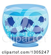 Clipart Of Silhouetted Pet Fish In A Bowl Royalty Free Vector Illustration