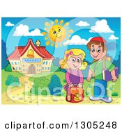 Clipart Of White Children Outside A School Building Royalty Free Vector Illustration by visekart