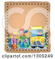 Clipart Of Worn Parchment Page Of White Children Being Picked Up At A School Bus Stop Royalty Free Vector Illustration