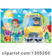 Clipart Of Cartoon Happy White Children Being Picked Up At A School Bus Stop On A Sunny Day Royalty Free Vector Illustration