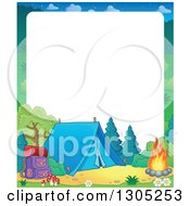 Clipart Of A Border Of A Forest Camp Site Royalty Free Vector Illustration