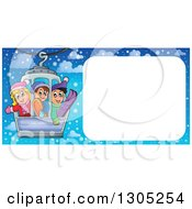 Clipart Of A Blank Frame With Happy Children On A Ski Lift Over Snow Royalty Free Vector Illustration by visekart