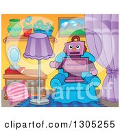 Clipart Of A Cartoon Purple Robot Standing And Presenting On A Living Room Chair Royalty Free Vector Illustration by visekart