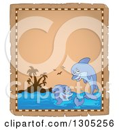 Clipart Of A Worn Parchment Page Of An Island And Playful Dolphins Royalty Free Vector Illustration by visekart